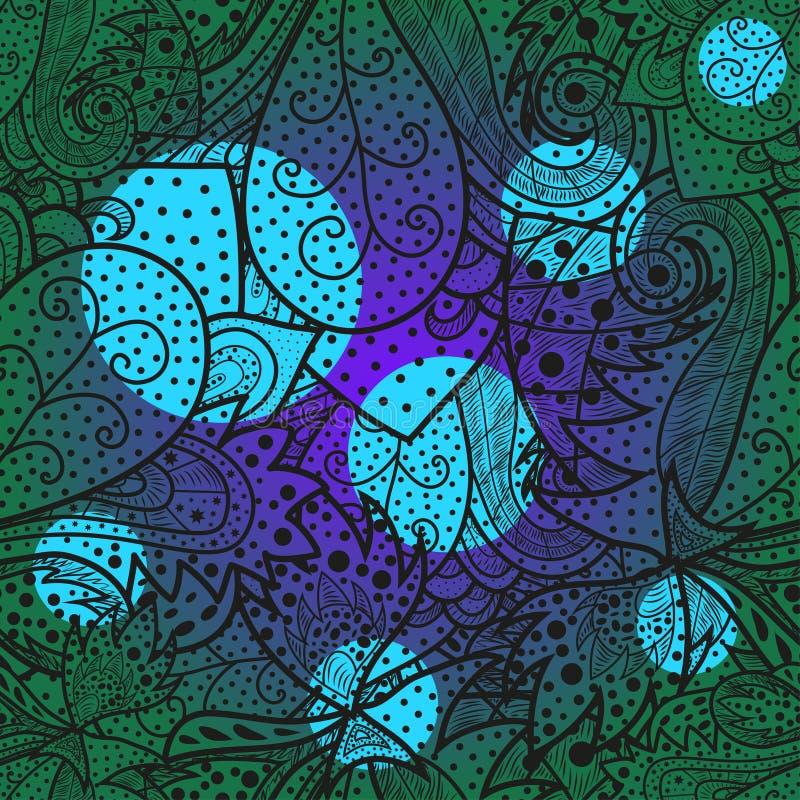 Modello disegnato a mano dell'onda senza cuciture con i ciano e punti viola luminosi royalty illustrazione gratis