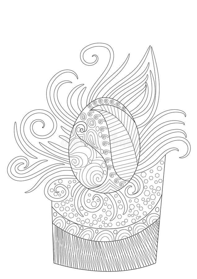Modello disegnato a mano dell'uovo di Pasqua in bianco e nero illustrazione di stock