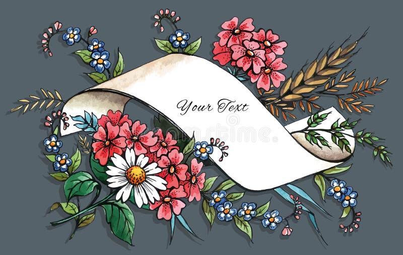 Modello disegnato a mano della cartolina d'auguri royalty illustrazione gratis