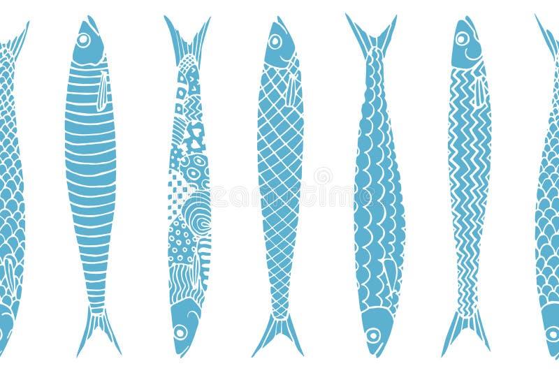 Modello disegnato a mano delle sardine illustrazione vettoriale