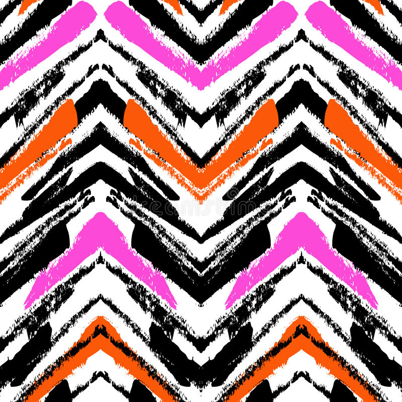 Modello disegnato a mano multicolore con le linee di zigzag illustrazione vettoriale