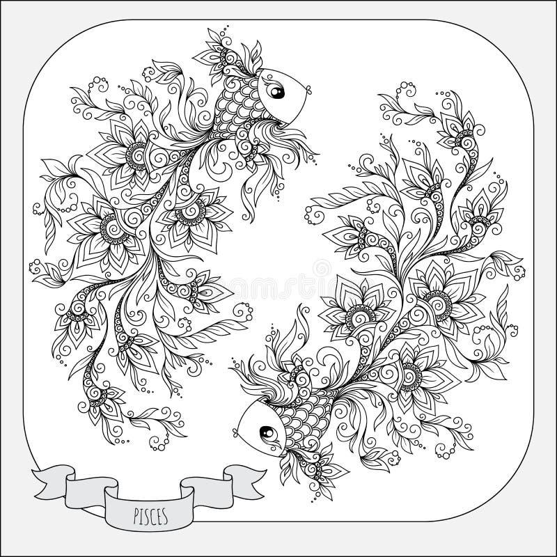 Modello disegnato a mano per i pesci dello zodiaco del libro da colorare royalty illustrazione gratis