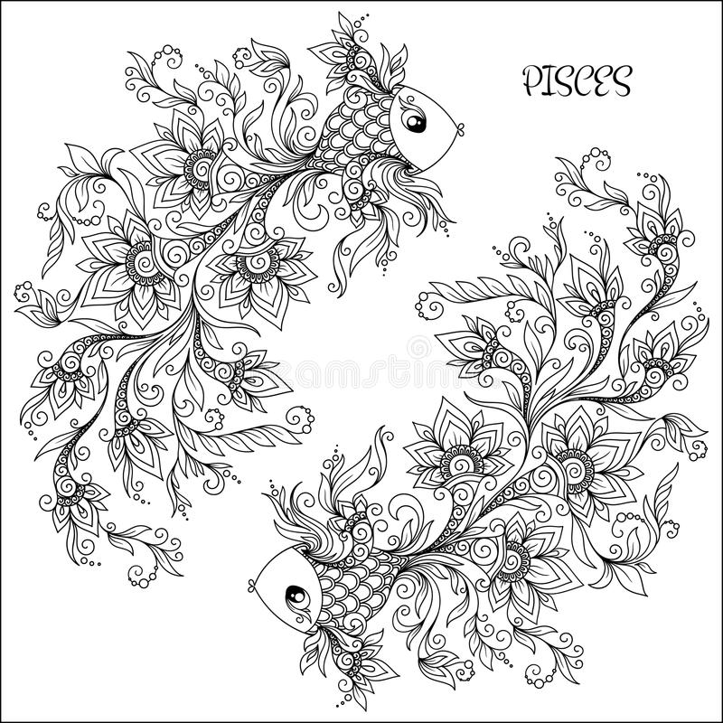 Modello disegnato a mano per i pesci dello zodiaco del libro da colorare illustrazione vettoriale