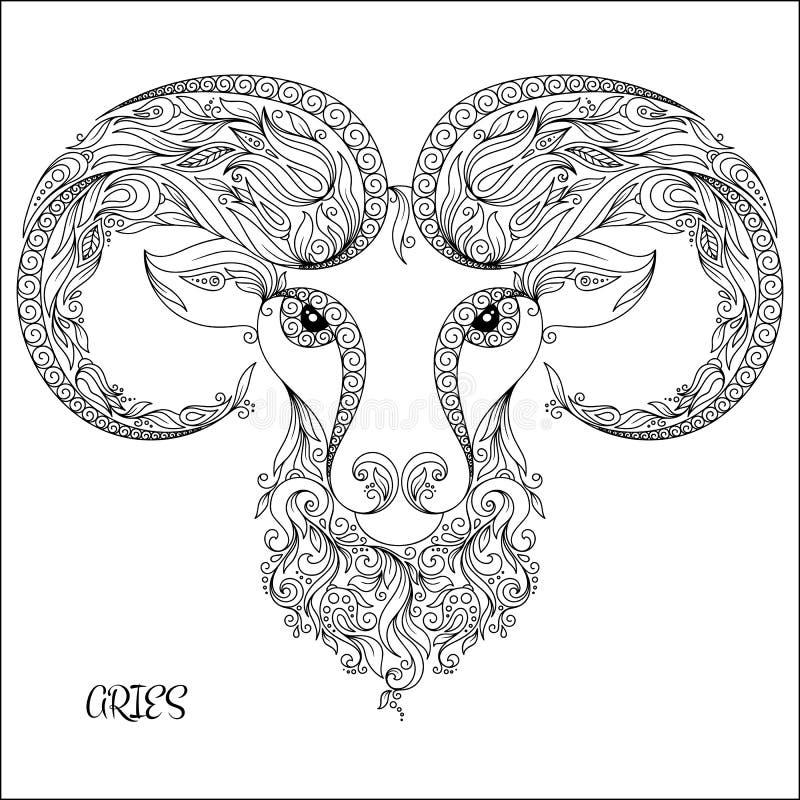 Modello disegnato a mano per l'Ariete dello zodiaco del libro da colorare illustrazione vettoriale