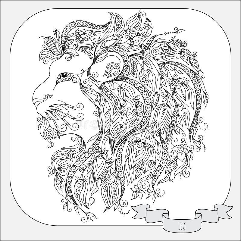 Modello disegnato a mano per lo zodiaco Leo del libro da colorare illustrazione vettoriale