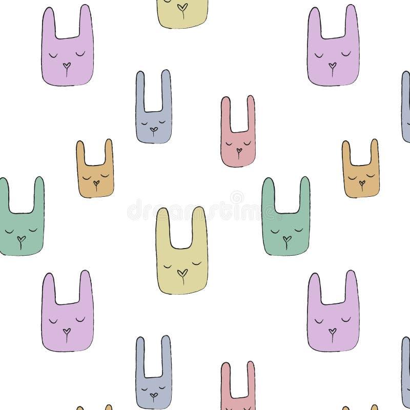 Modello disegnato a mano senza cuciture del coniglietto immagine stock libera da diritti