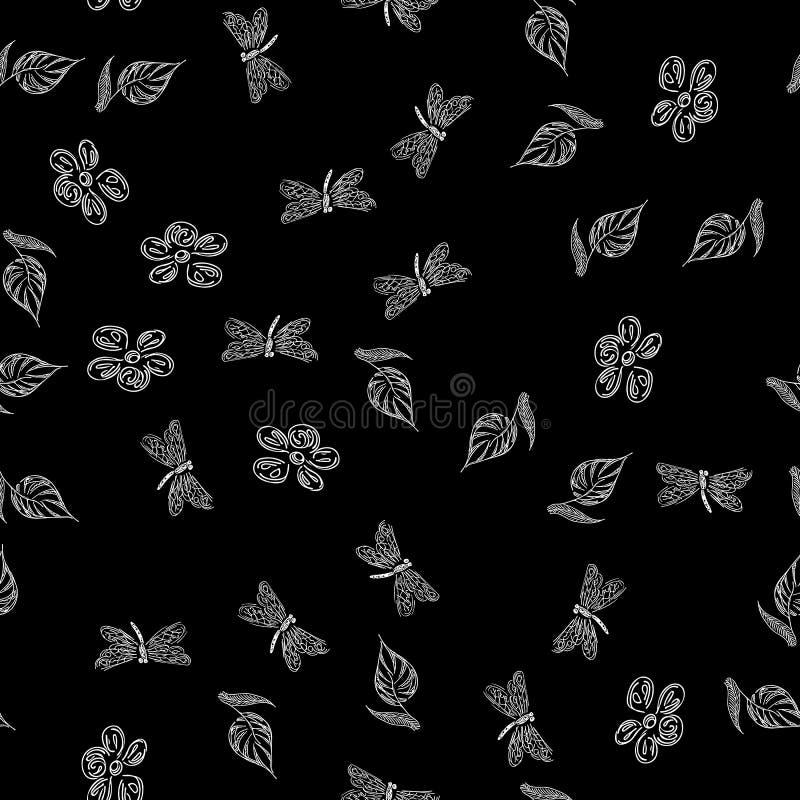 Modello disegnato a mano senza cuciture della libellula con i fiori per progettazione della carta da parati Retro carta astratta  illustrazione di stock
