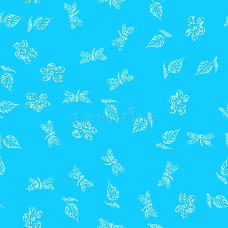 Modello disegnato a mano senza cuciture della libellula con i fiori per progettazione della carta da parati Retro carta astratta  fotografie stock