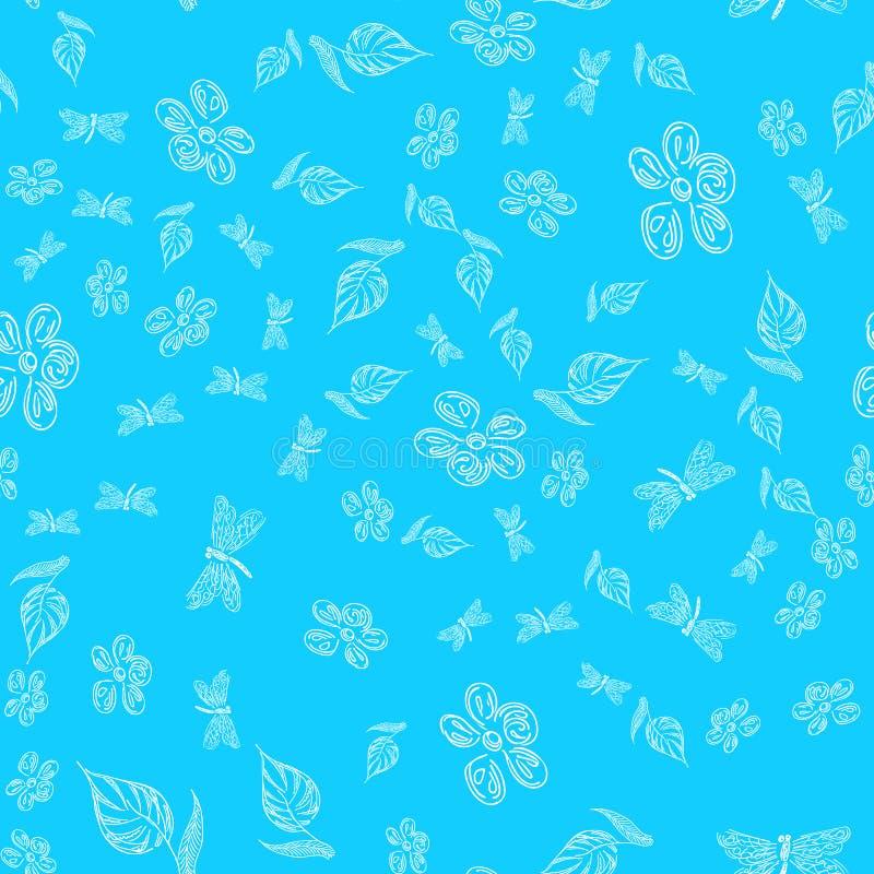 Modello disegnato a mano senza cuciture della libellula con i fiori per progettazione della carta da parati Retro carta astratta  fotografia stock libera da diritti