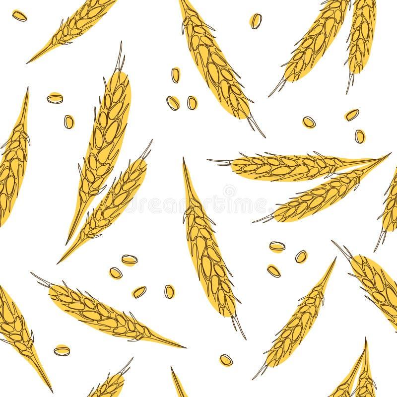 Modello disegnato a mano senza cuciture delle orecchie del grano isolato su fondo bianco come elemento di progettazione di pacche illustrazione di stock