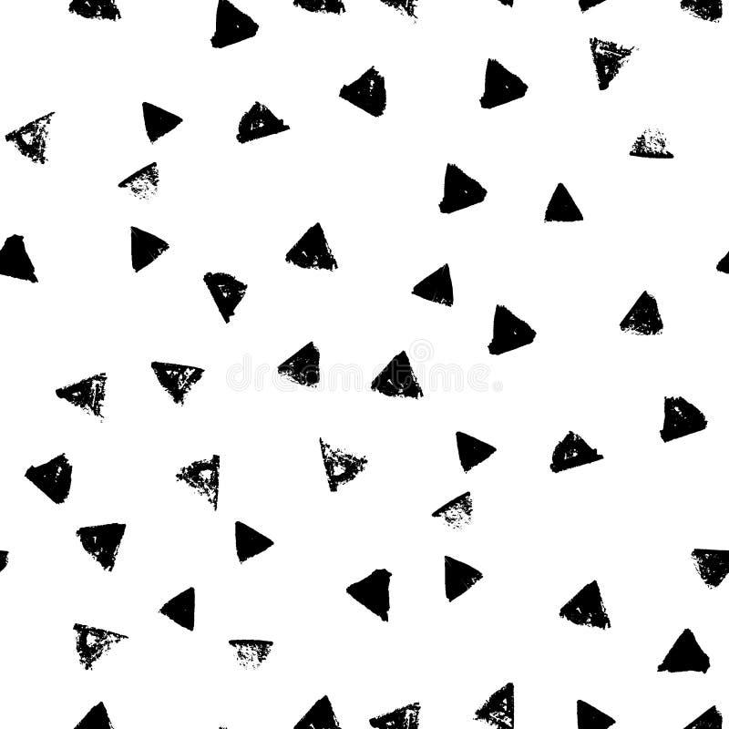 Modello disegnato a mano senza cuciture geometrico astratto Struttura moderna del grunge Fondo dipinto spazzola monocromatica royalty illustrazione gratis