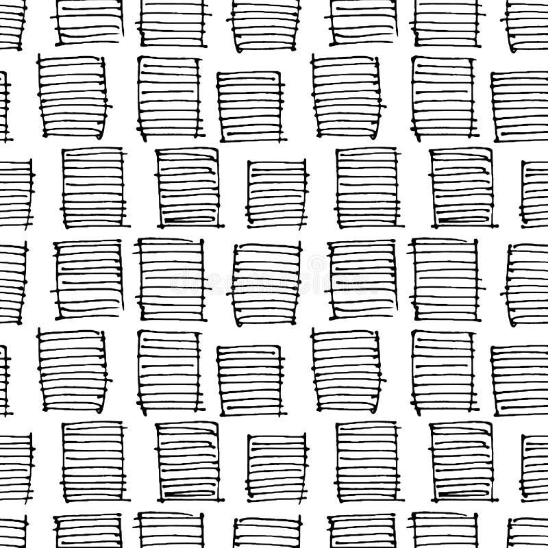 Modello disegnato a mano senza cuciture geometrico astratto Struttura moderna della carta bianca Fondo geometrico monocromatico d illustrazione di stock
