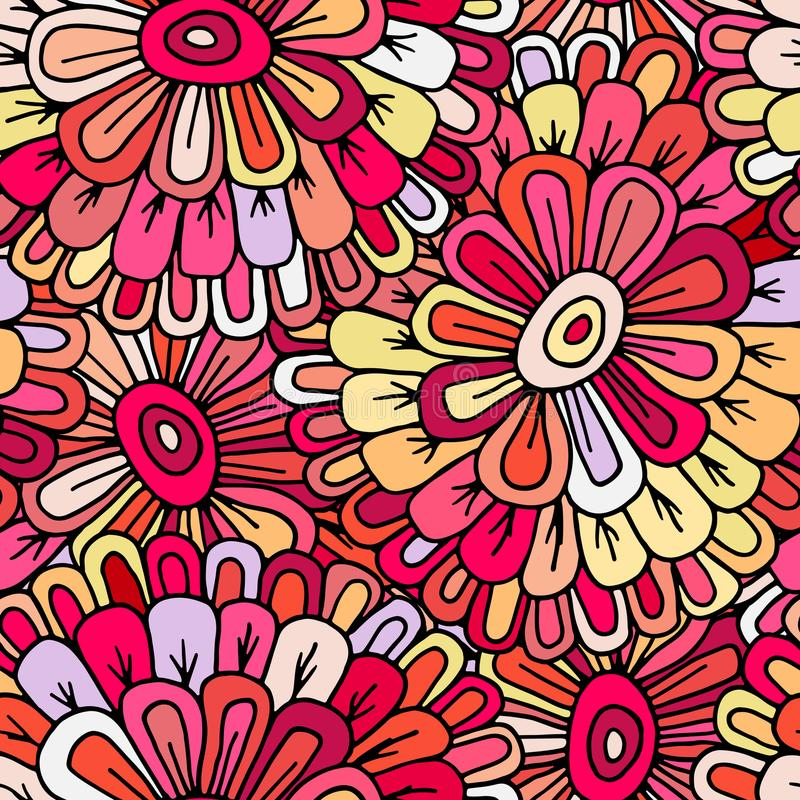 Modello disegnato a mano senza cuciture pazzo di vettore Colori luminosi di estate, fiori moderni Stile per le stampe, batik, tex illustrazione di stock