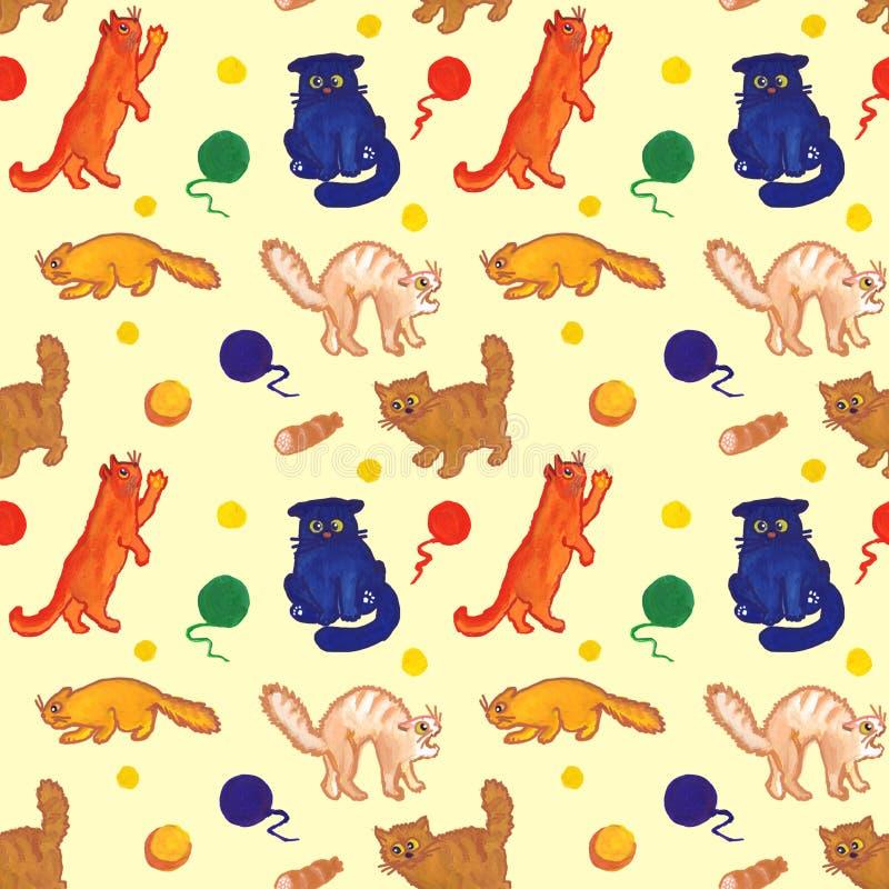Modello disegnato a mano senza cuciture per gli amanti ed i bambini del gatto illustrazione di stock