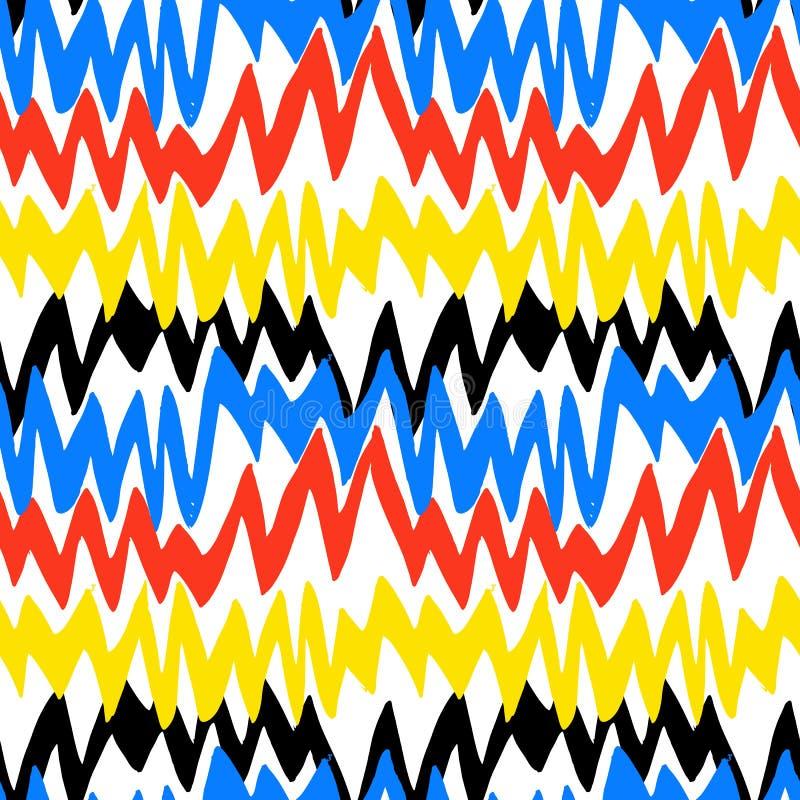 Modello disegnato a mano a strisce con le linee di zigzag illustrazione vettoriale