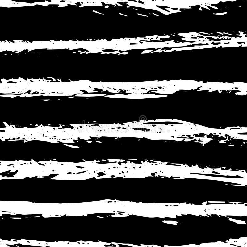 Modello disegnato a mano a strisce orizzontale dell'illustrazione di vettore Priorità bassa in bianco e nero Progettazione dell'i royalty illustrazione gratis