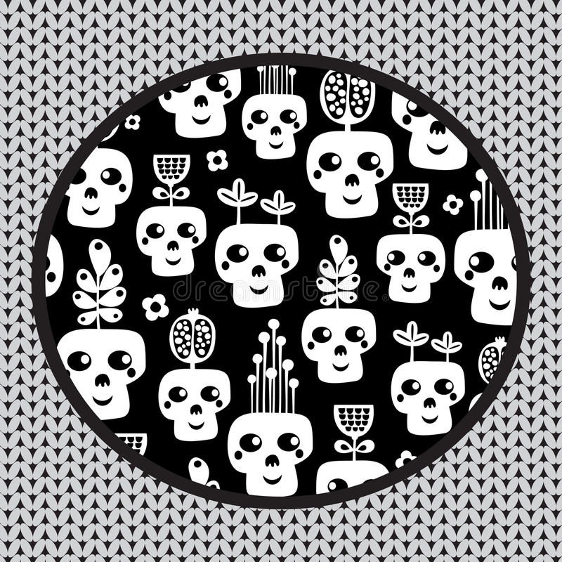 Modello divertente del cranio con i fiori. illustrazione di stock
