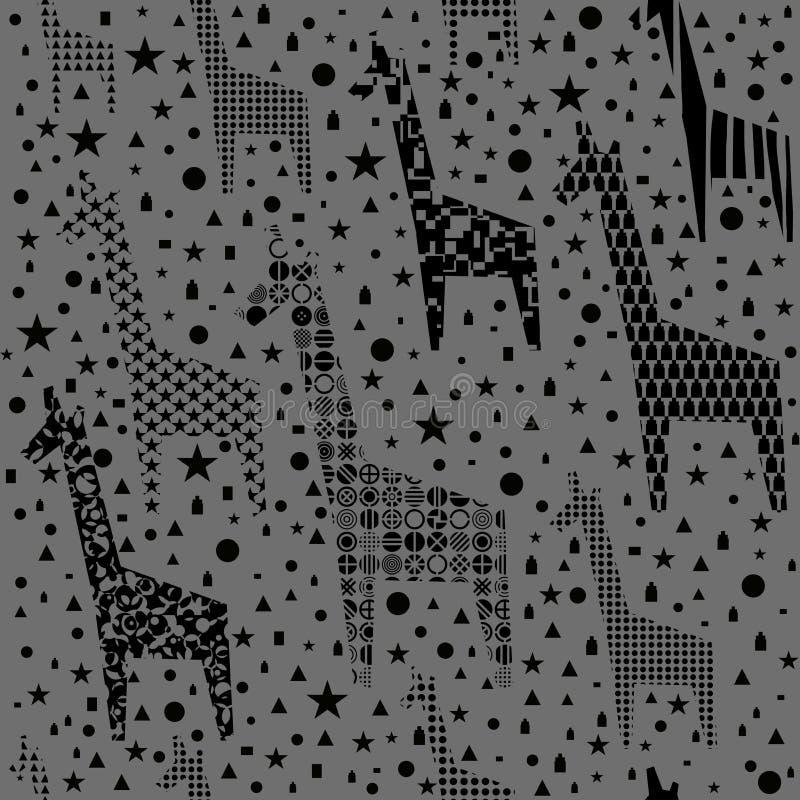 Modello divertente delle giraffe illustrazione vettoriale
