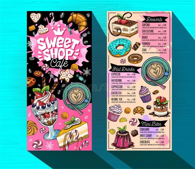 Modello dolce del menu del caffè del negozio Etichetta variopinta di progettazione di logo, emblema Vettore disegnato a mano illustrazione di stock
