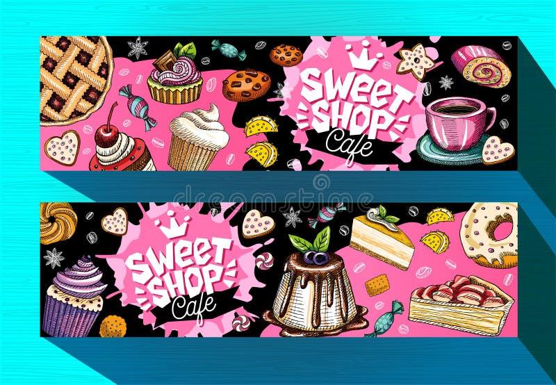 Modello dolce delle insegne del caffè del negozio Etichette variopinte dei dolci, emblema Vettore disegnato a mano royalty illustrazione gratis