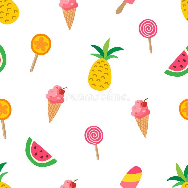 Modello dolce di estate con gli ananas, angurie, gelato, lolipops Struttura variopinta di estate con i frutti tropicali illustrazione vettoriale