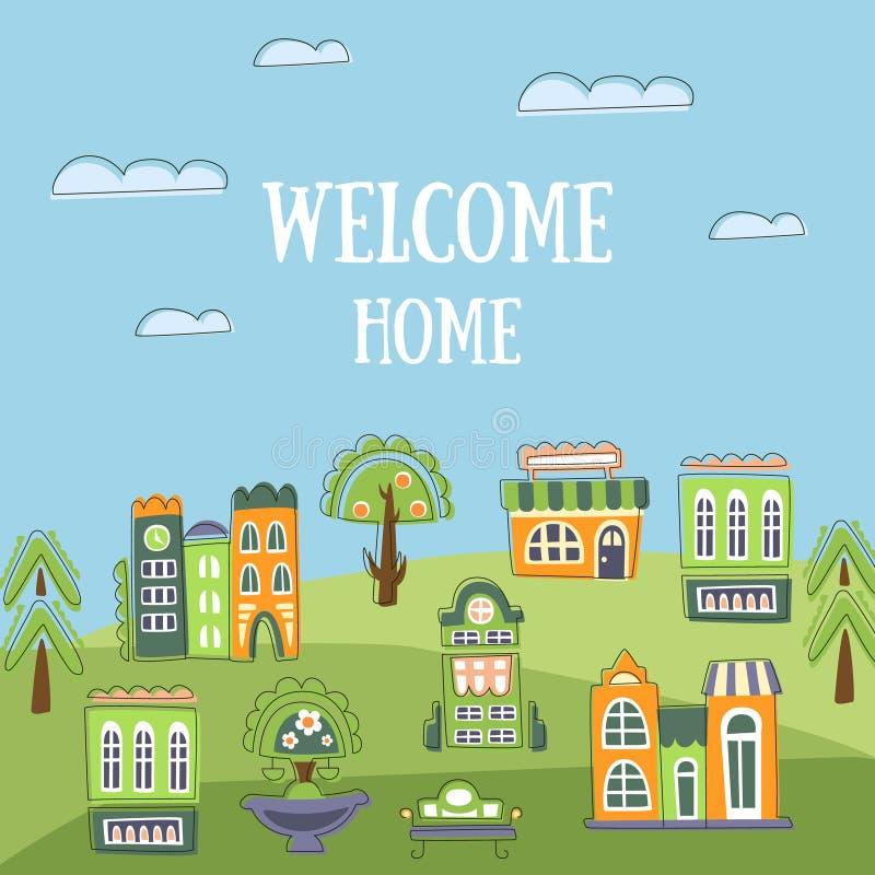 Modello domestico benvenuto dell'insegna, paesaggio di estate con il vettore disegnato a mano sveglio delle Camere, dell'invito,  royalty illustrazione gratis