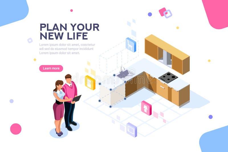 Modello domestico della pagina Web del pianificatore illustrazione di stock