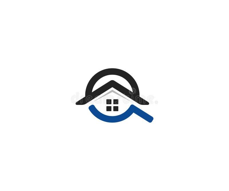 Modello domestico di logo di ricerca Progettazione di vettore del tetto e della lente della Camera royalty illustrazione gratis