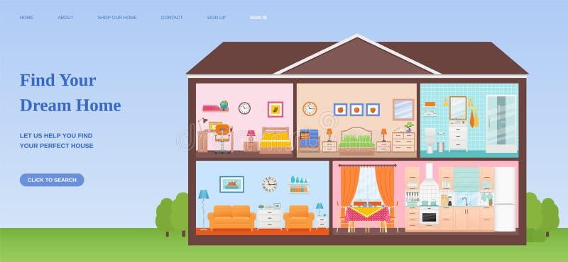 Modello domestico di sogno di progettazione della pagina Web del ritrovamento Illustrati piano di vettore illustrazione vettoriale