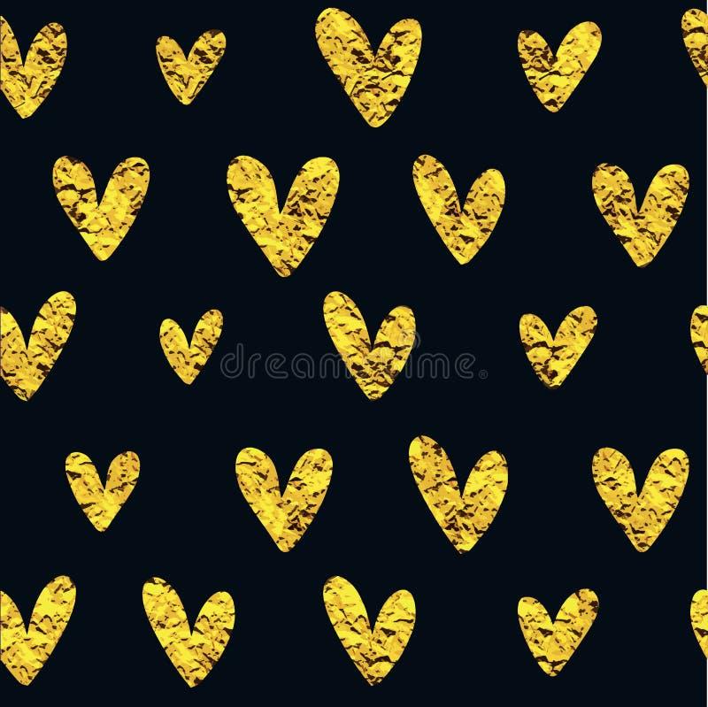 Modello dorato del cuore immagini stock libere da diritti