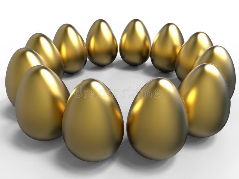 Modello dorato della circolare delle uova illustrazione vettoriale