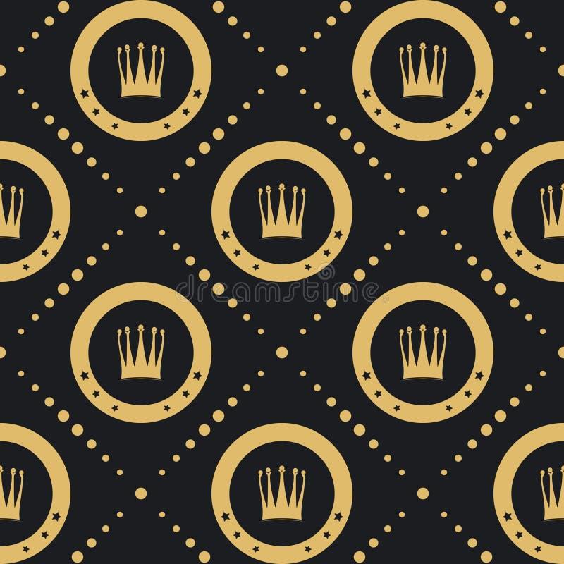 Modello dorato della corona senza cuciture illustrazione vettoriale