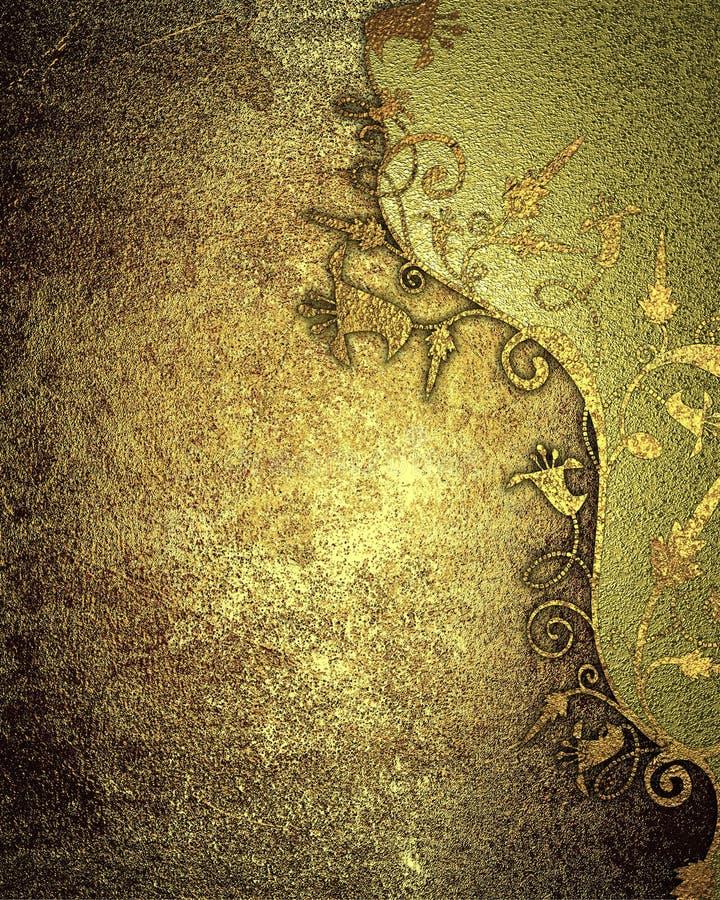 Modello dorato di colore di struttura dell'oro di lerciume Elemento per progettazione Mascherina per il disegno copi lo spazio pe illustrazione di stock