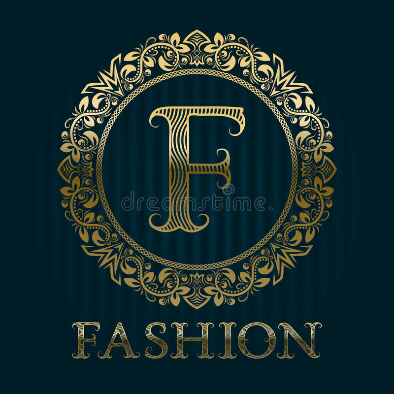 Modello dorato di logo per il boutique di modo illustrazione di stock