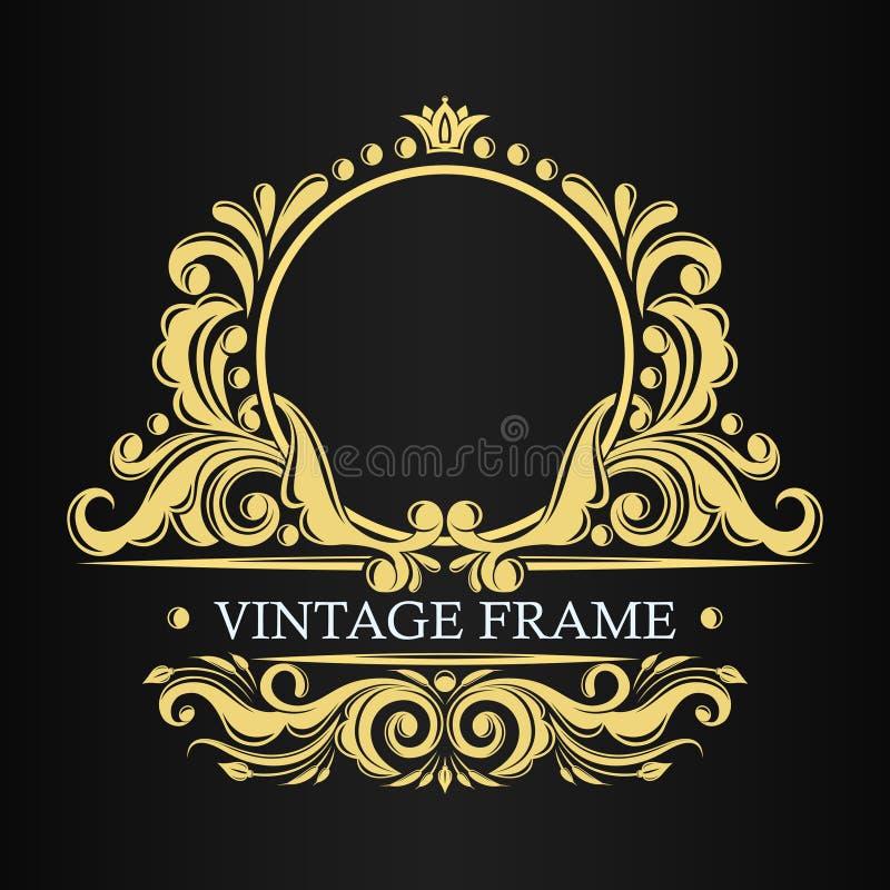 Modello dorato di lusso Struttura d'annata decorativa di vettore Ornamento frondoso Confine per il monogramma Indiano, turco, orn royalty illustrazione gratis