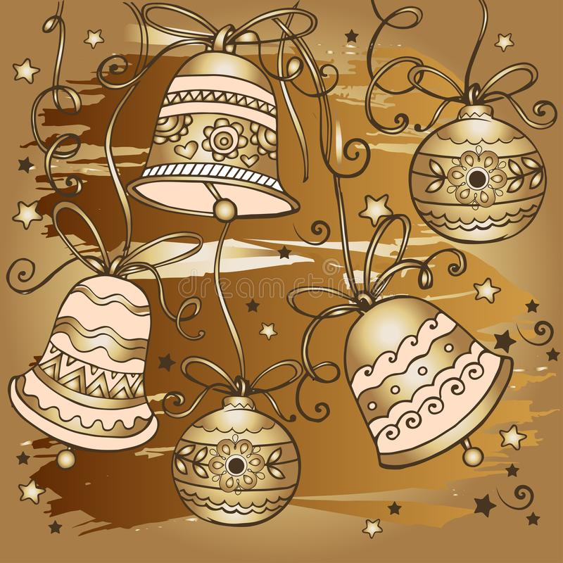 Modello dorato disegnato a mano delle campane di natale Progetti per le cartoline d'auguri con il Buon Natale ed il buon anno royalty illustrazione gratis