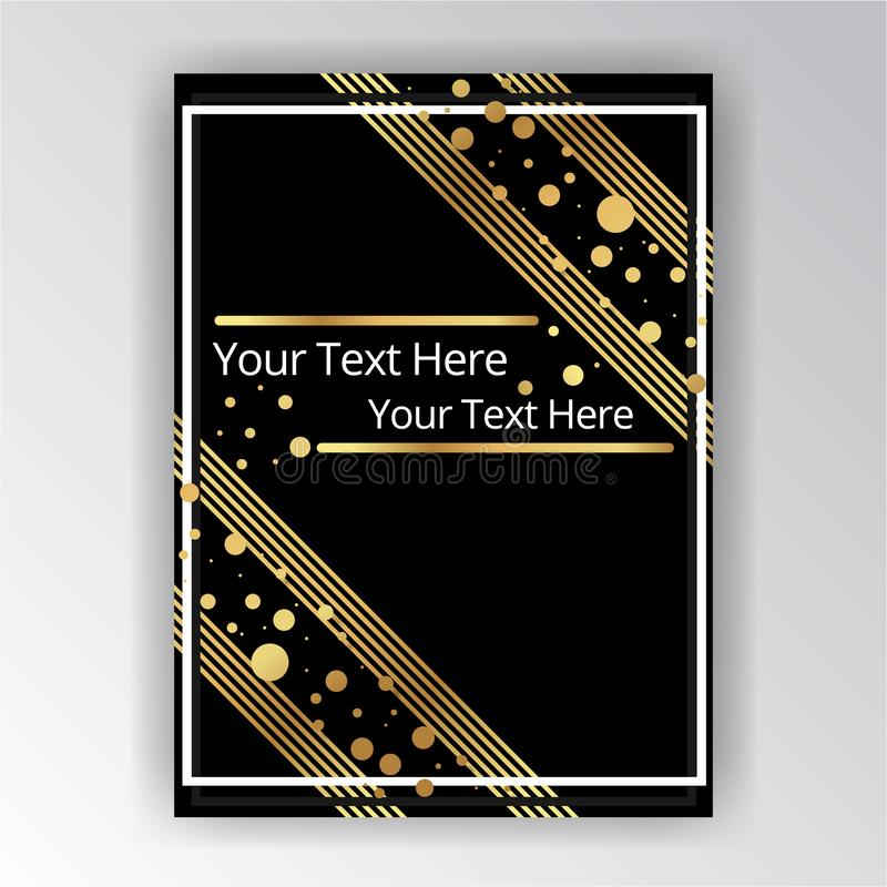 Modello dorato-nero, A4 pagina, menu, carta, invito di Art Deco illustrazione di stock