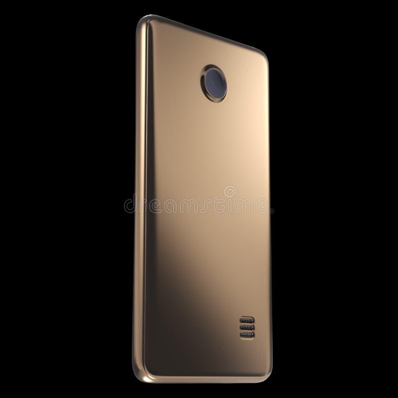 Modello dorato realistico del telefono cellulare o di Smartphone rappresentazione 3d immagini stock libere da diritti