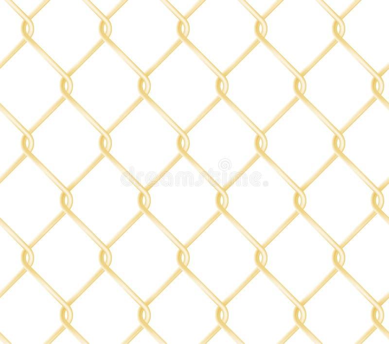 Modello dorato senza cuciture del recinto del collegamento a catena Struttura realistica di vettore del recinto di filo metallico illustrazione vettoriale