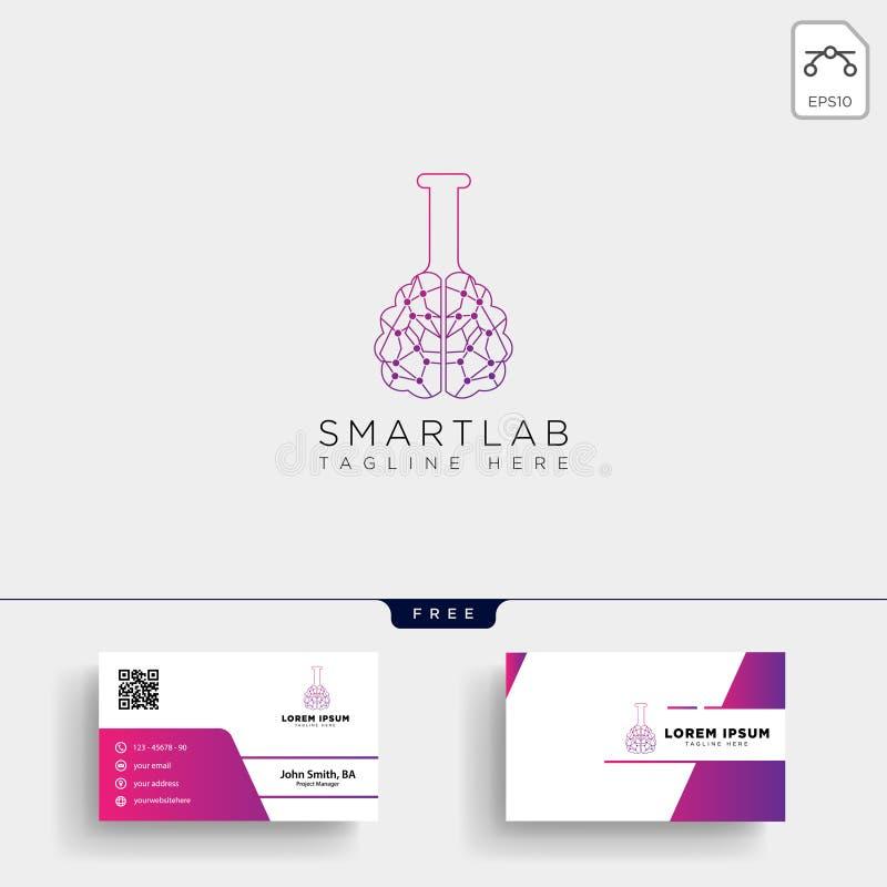 modello e biglietto da visita di logo di scienza del laboratorio del cervello illustrazione vettoriale