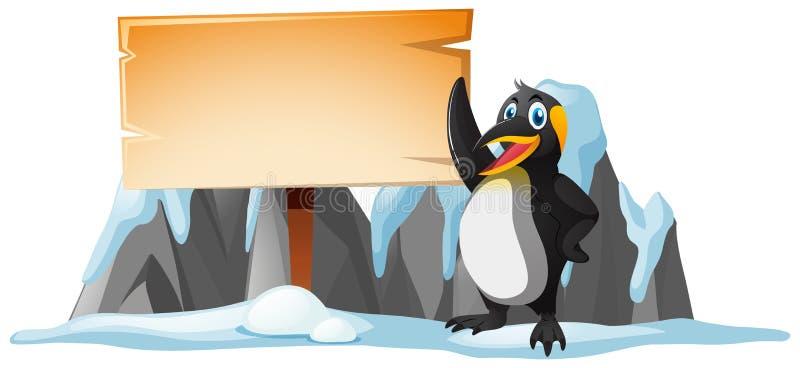 Modello e pinguino di legno del segno su ghiaccio royalty illustrazione gratis