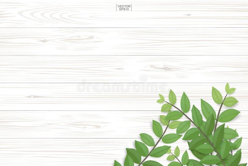 Modello e struttura di legno della plancia con le foglie verdi per sfondo naturale royalty illustrazione gratis