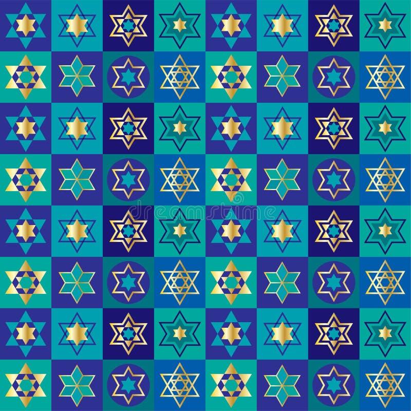 Modello ebreo del fondo della scacchiera delle stelle illustrazione vettoriale