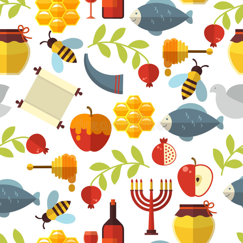 Modello ebreo di Rosh Hashanah del nuovo anno royalty illustrazione gratis