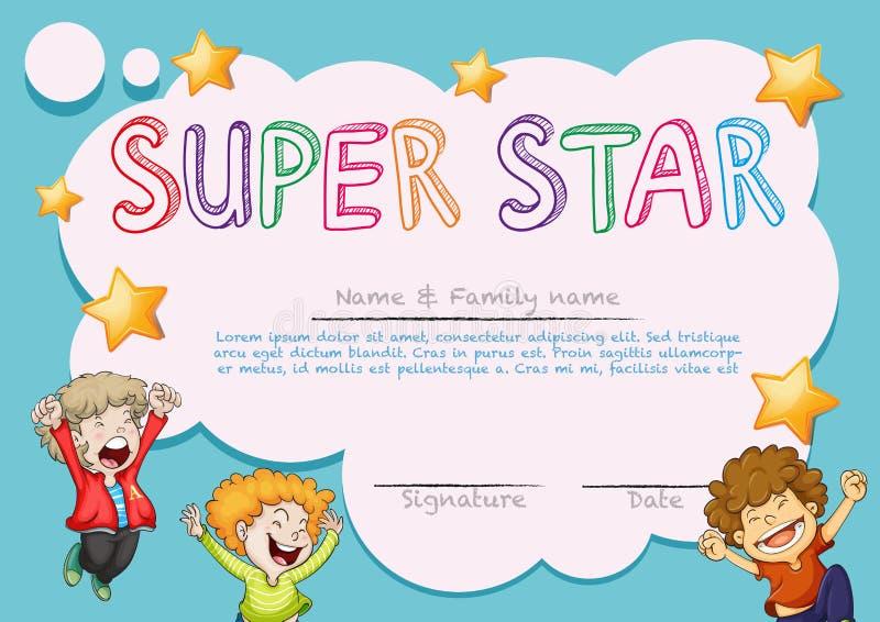 Modello eccellente del premio della stella con i bambini nel fondo royalty illustrazione gratis