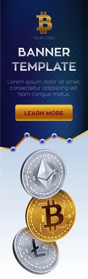 Modello editabile dell'insegna di valuta cripto Bitcoin, Ethereum, Litecoin monete fisiche isometriche 3D Moneta dorata di Bitcoi illustrazione vettoriale