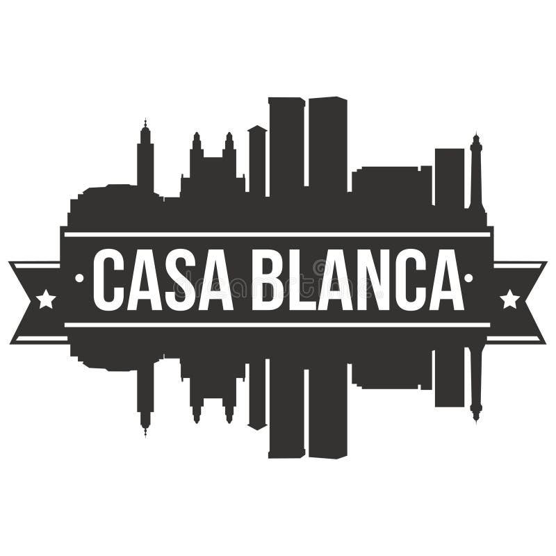 Modello editabile della siluetta di Art Design Skyline Flat City di vettore dell'icona del BLANCA Marocco Africa della casa illustrazione di stock