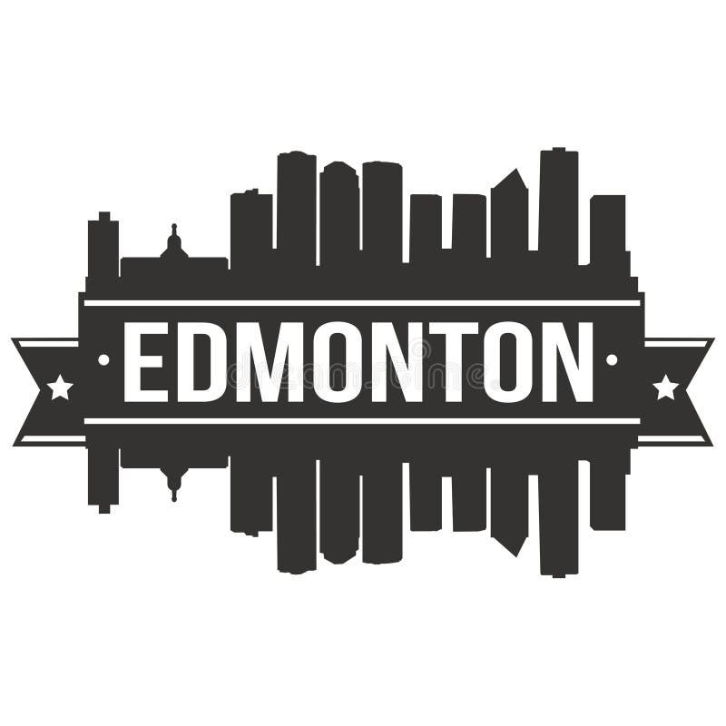 Modello editabile della siluetta di Art Design Skyline Flat City di vettore dell'icona di Edmonton Canada Nord America illustrazione vettoriale
