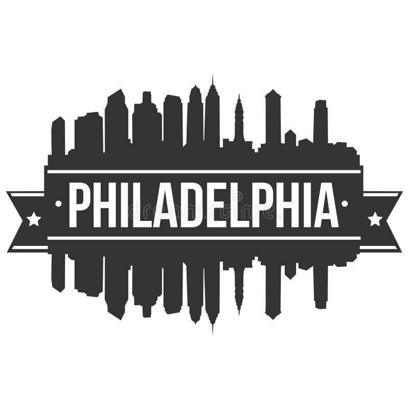 Modello editabile della siluetta di Art Design Skyline Flat City di vettore dell'icona di Filadelfia Pensilvania Stati Uniti d'Am royalty illustrazione gratis