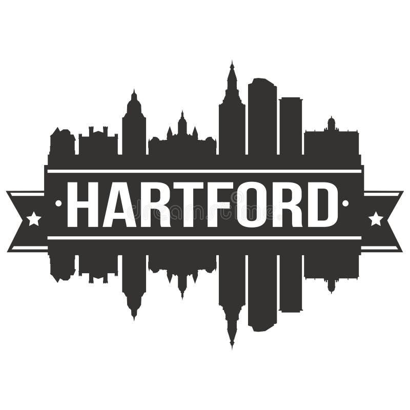 Modello editabile della siluetta di Art Design Skyline Flat City di vettore dell'icona di Hartford Connecticut Stati Uniti d'Amer illustrazione di stock